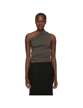 Grey One Shoulder Tank Top by Rick Owens