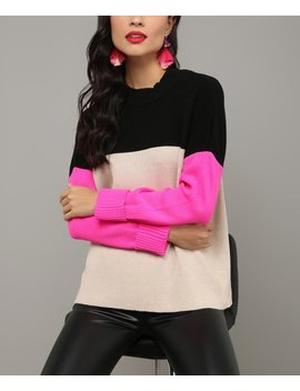 Stone & Fuchsia Color Block Sweater   Women by Milan Kiss