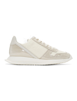 Off White Plastic Shearling Runner Sneaker by Rick Owens