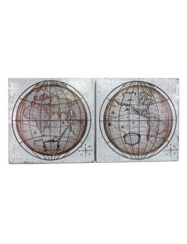 21 X 21 In Galvanized World Map Wall Décor by At Home