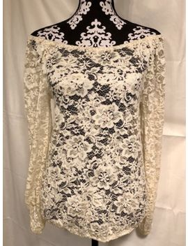 Charming Charlie Lace Blouse Top Small Cream Floral Cinched Hem Off Shoulder Euc by Charming Charlie