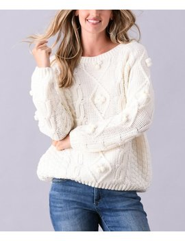 White Pom Pom Accent Cable Knit Sweater   Women & Plus by Simply Couture