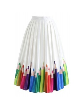 Colorful Pencil Illustration Printed Midi Skirt by Chicwish