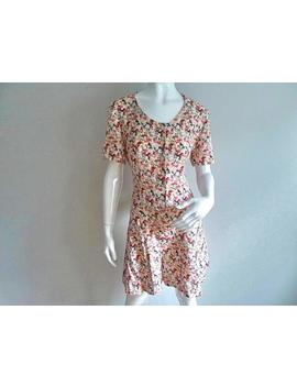 Vintage Floral Romper   Button Up   Short Sleeve   Adjustable Tie In Back   Shorts   90s   Soft Grunge   Size Medium by Etsy