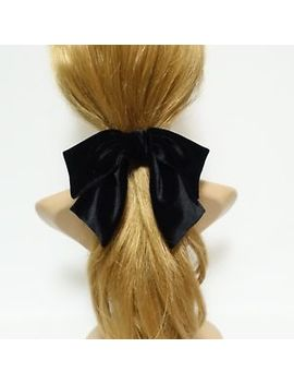 Velvet Drape Hair Bow Ponytail Holder Basic Floppy Style Bow Elastic Hair Ties by Very Shine
