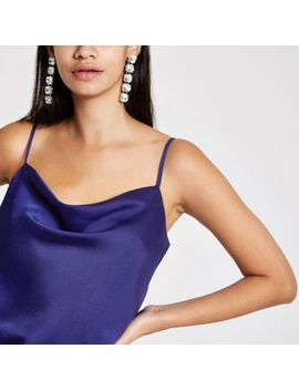 Blue Cowl Neck Cami Top by River Island