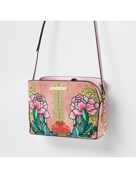 Pink Floral Open Top Triple Compartment Bag by River Island
