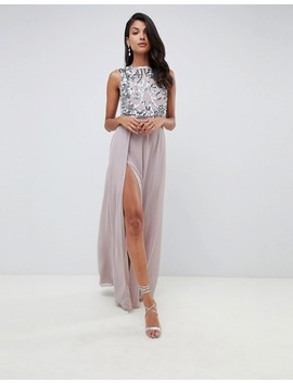 Asos Design Tall Crop Top Embellished Maxi Dress by Asos Design