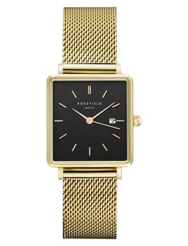 The Boxy Mesh Strap Watch, 26mm X 28mm by Rosefield