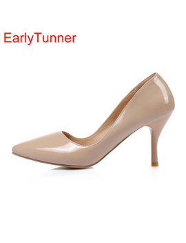 2018 Brand New Fashion Black Apricot Pink Women Glossy Formal Pumps High Heels Lady Nude Dress Shoes Ek31 Plus Big Size 10 48 30 by Early Tunner
