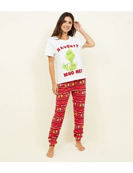 Red Grinch Pyjama Set by New Look
