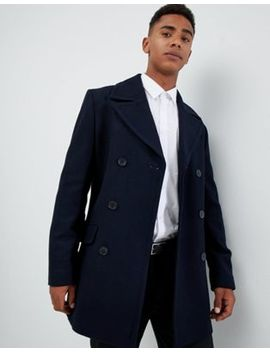 French Connection Wool Blend Double Breasted Pea Coat by French Connection