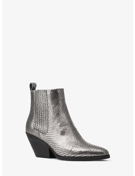 Sinclair Metallic Embossed Leather Ankle Boot by Michael Michael Kors
