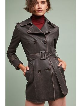 Leather Trench Coat by June