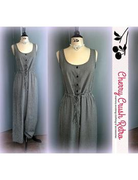 90s Sleeveless Gingham Jumpsuit   Timeless Black & White Checks   Scoop Neck   Drawstring Ties   Retro Kathie Lee   Size Large by Etsy