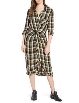 Caslon(R) Twist Front Plaid Shirtdress (Regular & Petite) by Caslon