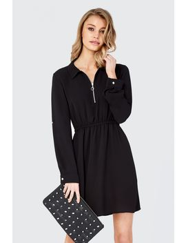 Zip Front Shirt Dress by Select