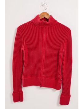Tommy Hilfiger Zip Up Jumper Women's Large Red Cotton by Ebay Seller