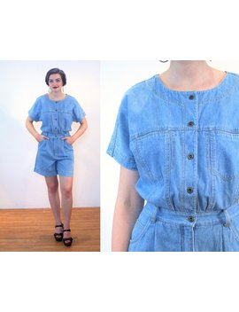90s Denim Romper M, Cotton Vintage Blue Jean Retro Shorts Jumpsuit Women's Onesie Playsuit, Medium by Etsy