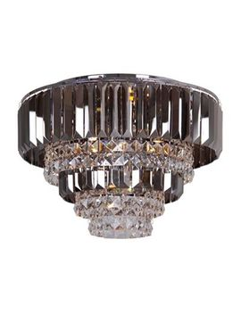 Home Collection   Mila Smoked And Clear Crystal Glass Flush Light by Home Collection