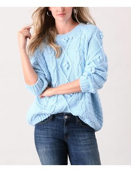 Teal Pom Pom Accent Cable Knit Sweater   Women & Plus by Simply Couture