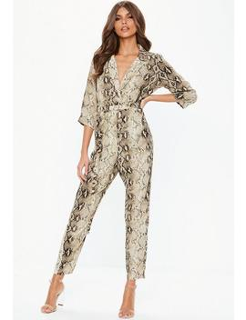 Nude Snake Print Wrap Over Jumpsuit by Missguided