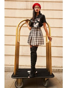 Brown Checked Pleated Mini Skirt by I Saw It First