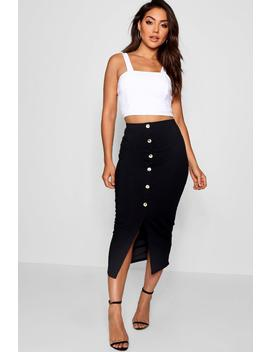 Ribbed Mock Horn Button Through Midaxi Skirt by Boohoo