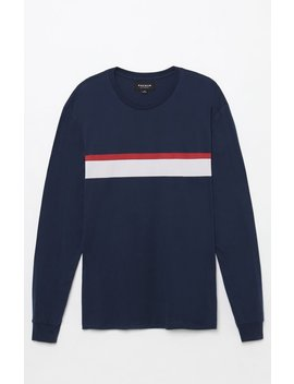 Pac Sun Placed Stripe Navy Long Sleeve T Shirt by Pacsun