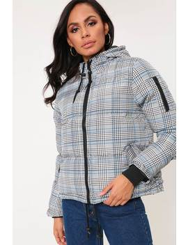 Black/White Checked Hooded Padded Jacket by I Saw It First