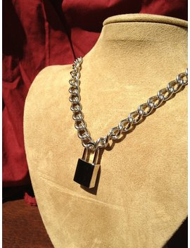 Stainless Steel Chain Necklace With Small Square Padlock by Etsy