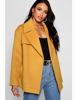 Short Belted Wool Look Coat by Boohoo