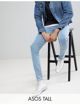 Asos Design Tall Skinny Jeans In Flat Light Wash by Asos Design