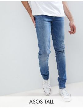 Asos Design Tall Skinny Jeans In Dark Wash by Asos Design