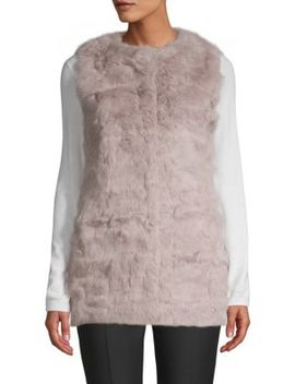 Collarless Rabbit Fur Vest by La Fiorentina