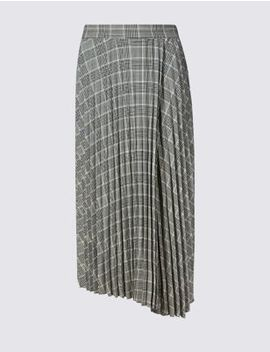Checked Asymmetric Pleated Midi Skirt by Tracked Express Delivery: