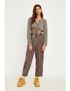Uo Brown Check High Waist Pleated Trousers by Urban Outfitters