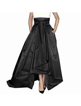 Lisong Women Floor Length High Low Bowknot Belt Satin Party Skirt by Lisong