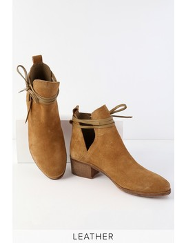 Pacey Tan Suede Leather Cutout Ankle Booties by Lulus X Matisse