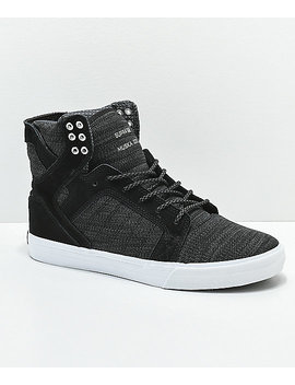 Supra Skytop Reflective Black & Charcoal Skate Shoes by Supra