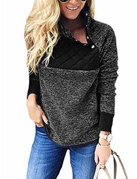 Shibever Womens Plus Fleece Sweatshirt Long Sleeve Oblique Button Geometric Pattern Pullover Coats Jackets Outwear by Shibever