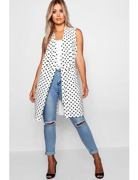 Plus Spot Buckle Sleeveless Duster by Boohoo