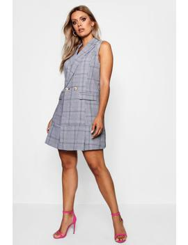 Plus Check Pleated Sleeveless Blazer Dress by Boohoo