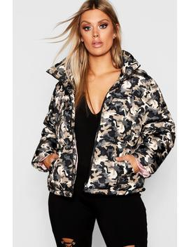 Plus Camo Puffer Jacket by Boohoo