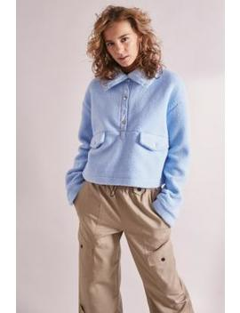 House Of Sunny Muted Blue Teddy Pullover Jacket by House Of Sunny