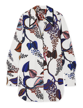 Clotilde Oversized Floral Print Satin Shirt by Stine Goya