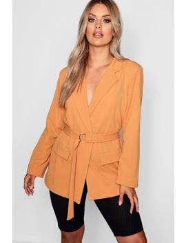 Plus D Ring Belted Blazer by Boohoo