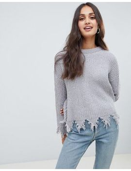 Brave Soul Stabilo Chenille Jumper With Distressed Hem by Jumper