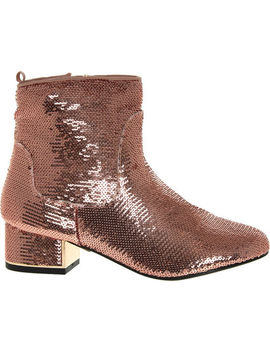 Pink Sequin Block Heel Boots by River Island