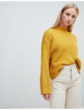 New Look – Senapsgul Tröja Med Vida ärmar I Chenille by Asos